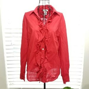 Jones NY Red Long Sleeved Ruffled Button Down Top